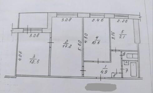 Продается 3-комнатная квартира 58м2  в Новом Городе, 28 комплекс, номер 9048 - 17