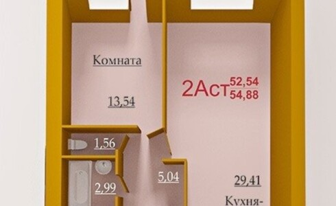 Продается 2-комнатная квартира 54м2  на ЗЯБи, 14 комплекс, номер 9547 - 1