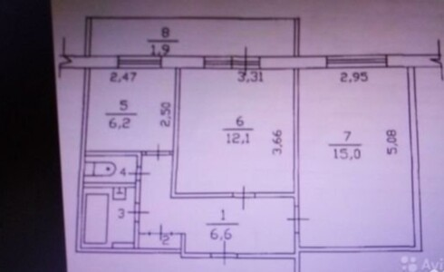 Продается 2-комнатная квартира 44м2  на ЗЯБи, 17 комплекс, номер 5199 - 1