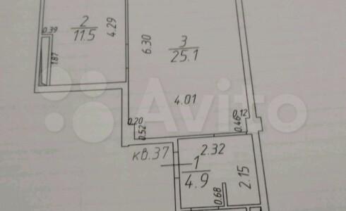 Продается 1-комнатная квартира 49м2 , 16 комплекс, номер 9123 - 3